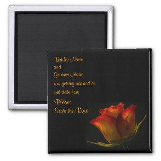 Elegant Orange Yellow Rose Wedding Save The Date Fridge Magnet