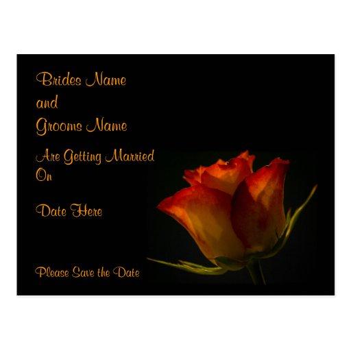Elegant Orange Yellow Rose Wedding Save The Date Postcard