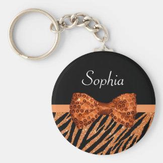 Elegant Orange Zebra Print FAUX Glitz Bow and Name Basic Round Button Key Ring