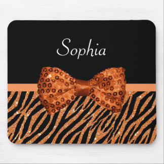 Elegant Orange Zebra Print FAUX Glitz Bow and Name Mouse Pad