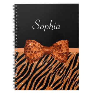 Elegant Orange Zebra Print FAUX Glitz Bow and Name Spiral Notebook