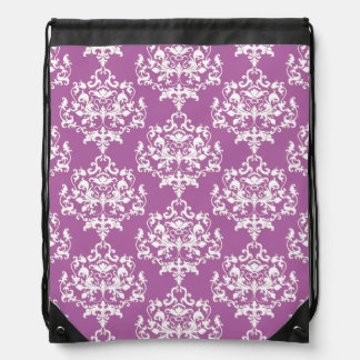 Elegant Orchid Damask Drawstring Backpack