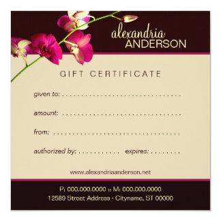 Elegant Orchid Gift Certificate 13 Cm X 13 Cm Square Invitation Card