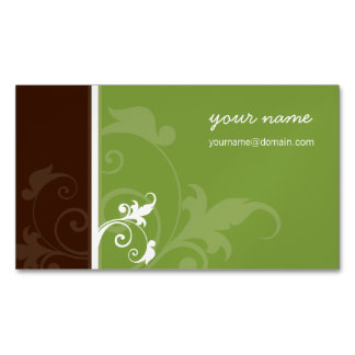 ELEGANT organic simple foliage verve brown green Magnetic Business Cards
