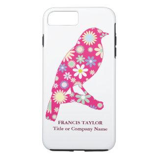 Elegant original fuchsia bird with floral pattern, iPhone 7 plus case