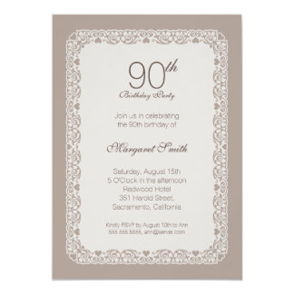 Elegant ornamental 90th birthday party Invitations