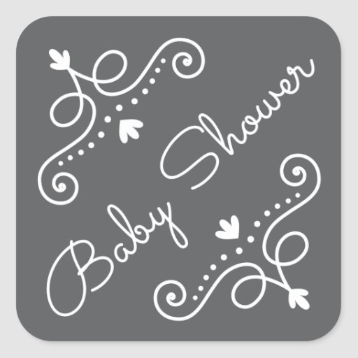 Elegant ornate decorations on gray baby shower square sticker