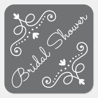 Elegant ornate decorations on gray bridal shower square stickers