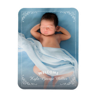 Elegant Ornate Frame Welcome Birth Announcement Rectangle Magnets