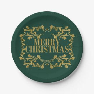 Elegant Ornate Gold Merry Christmas Paper Plate