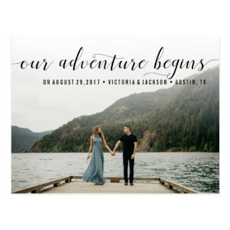 Elegant Our Adventure Save the Date Photo Postcard