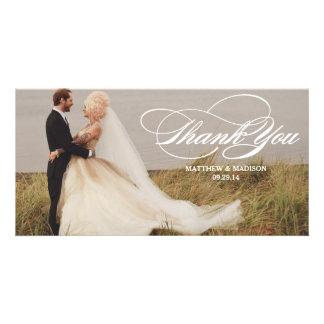 Elegant Overlay   Wedding Thank You Photo Card