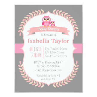 Elegant Owl Baby Girl Shower 11 Cm X 14 Cm Invitation Card