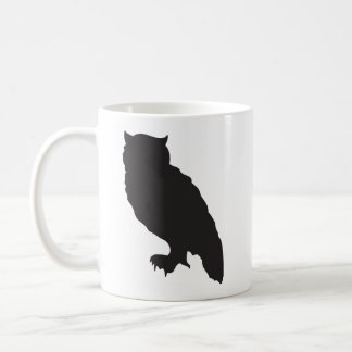 Elegant owl black silhouette vector graphic coffee mug