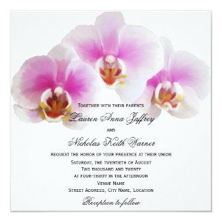"Elegant Painted Orchids Wedding 5.25"" Square Invitation Card"