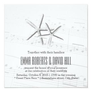 Elegant Pair of Starfish Musical Wedding 13 Cm X 13 Cm Square Invitation Card