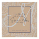 Elegant Paisley Save the Date with Monogram Invitation