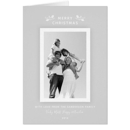 Elegant Pale Silver-Grey + White Christmas Photo Card