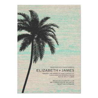 Elegant Palm Trees Burlap Wedding Invitations
