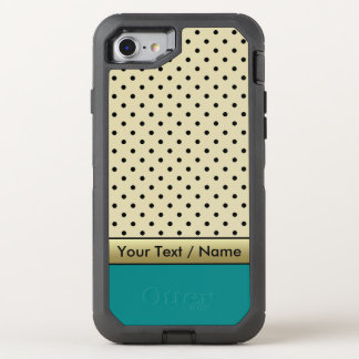 Elegant Parchment Cream Polka Dots On Teal Blue OtterBox Defender iPhone 8/7 Case