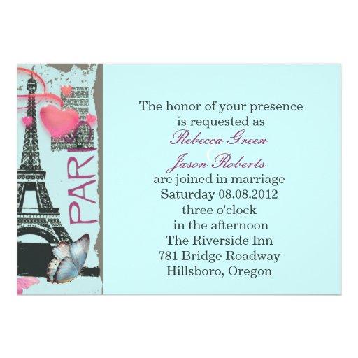elegant paris eiffel tower vintage wedding custom announcements
