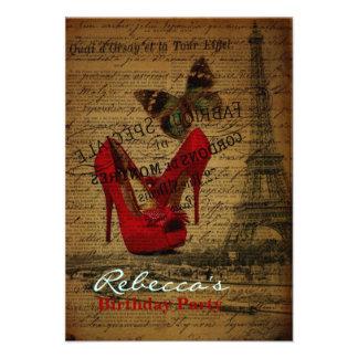 elegant paris french vintage birthday party invites