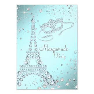 Elegant Paris Masquerade Party 13 Cm X 18 Cm Invitation Card