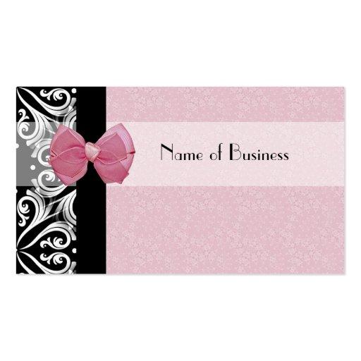 Elegant Parisian Damask Pink Ribbon Business Cards