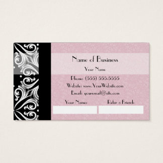 Elegant Parisian Damask Pink Ribbon Refer a Friend Business Card