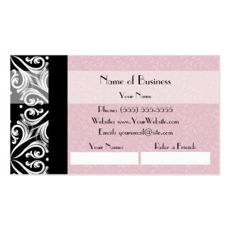 Elegant Parisian Damask Pink Ribbon Refer a Friend Pack Of Standard Business Cards