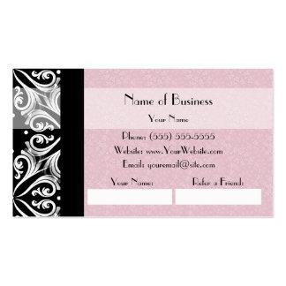 Elegant Parisian Damask Pink Ribbon Refer a Friend Pack Of Standard Business Cards