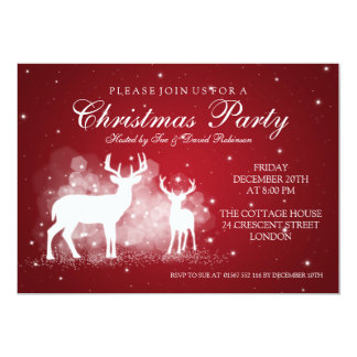 Elegant Party Deer Sparkle Red Card