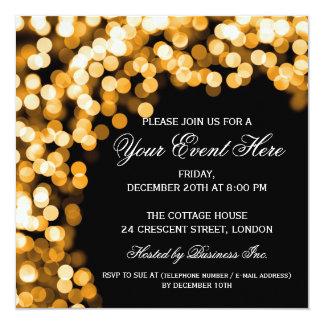 Elegant Party Invitation Gold Sparkly Black