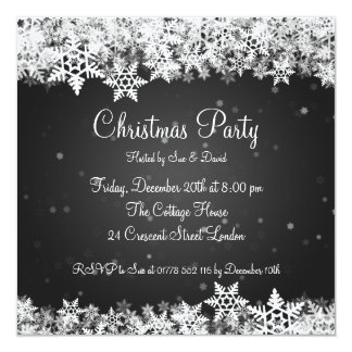 Elegant Party Invitation Winter Snowflakes Black