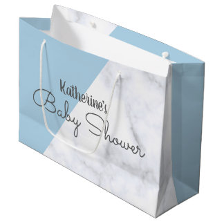 Elegant pastel blue and white marble baby shower large gift bag