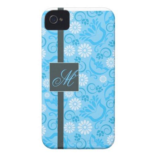 Elegant pastel blue BlackBerry Bold Case Monogram
