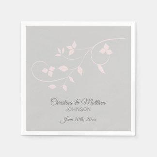Elegant Pastel Blush Pink & Grey (Gray) Wedding Paper Napkin
