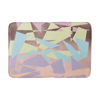 elegant pastel color block rose gold geometric bath mat