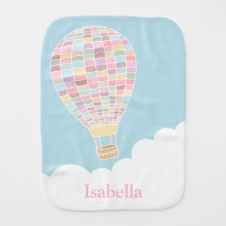 Elegant Pastel Hot Air Balloon Baby Burp Cloth