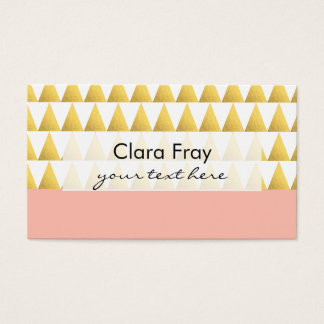 elegant pastel peach, faux gold triangles pattern business card