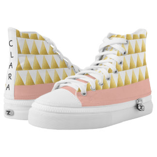 elegant pastel peach, faux gold triangles pattern high tops