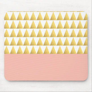 elegant pastel peach, faux gold triangles pattern mouse pad