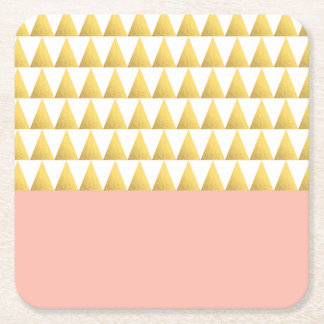 elegant pastel peach, faux gold triangles pattern square paper coaster