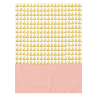 elegant pastel peach, faux gold triangles pattern tablecloth