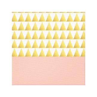 elegant pastel peach, gold foil triangles pattern canvas print