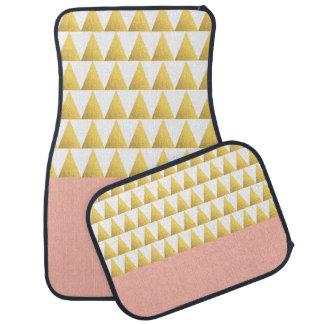 elegant pastel peach, gold foil triangles pattern car mat