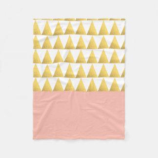 elegant pastel peach, gold foil triangles pattern fleece blanket
