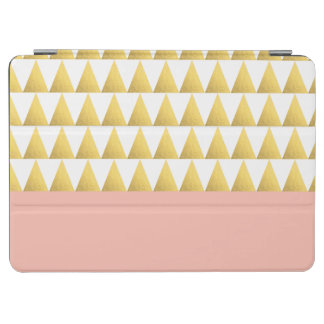 elegant pastel peach, gold foil triangles pattern iPad air cover