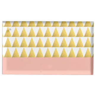 elegant pastel peach, gold foil triangles pattern table card holders