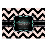 Elegant Pastel Pink and Black Chevron Gift Business Card Template